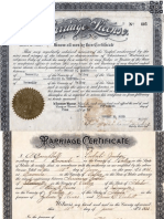 Truman C Leach and Elsie E Reeves Marriage Certificate