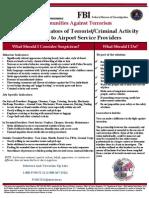 Potential Indicators of Terrorist Activities - Airport Service Providers