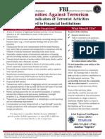 Potential Indicators of Terrorist Activities - Financial Institutions