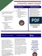 Potential Indicators of Terrorist Activities - General Public