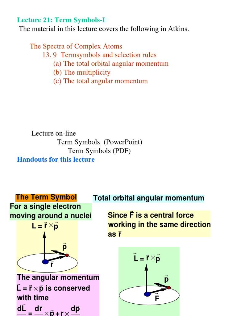 Chem 373 lecture 21 term symbols i atomic orbital spin physics buycottarizona