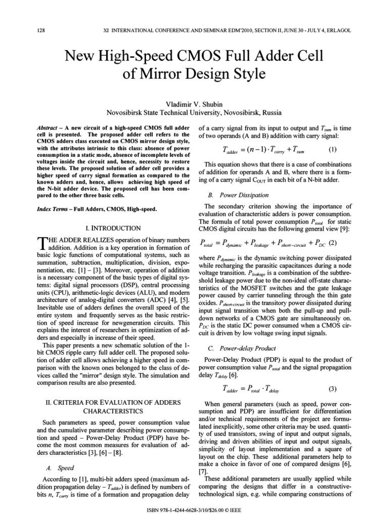 Cmos Mirror Design Style Mosfet Gate Full Adder Logic Diagram Additionally 1 Bit Circuit