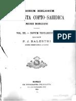 Ciasca. Sacrorum Bibliorum fragmenta copto-sahidica Musei Borgiani iussu et sumptibus S. Congregationis de propaganda fide. 1885. Volume 3.
