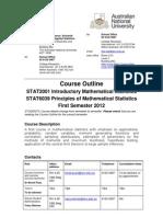 STAT2001 Course Outline 1st Sem 2012