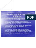 Barriers on the Part of Receiver