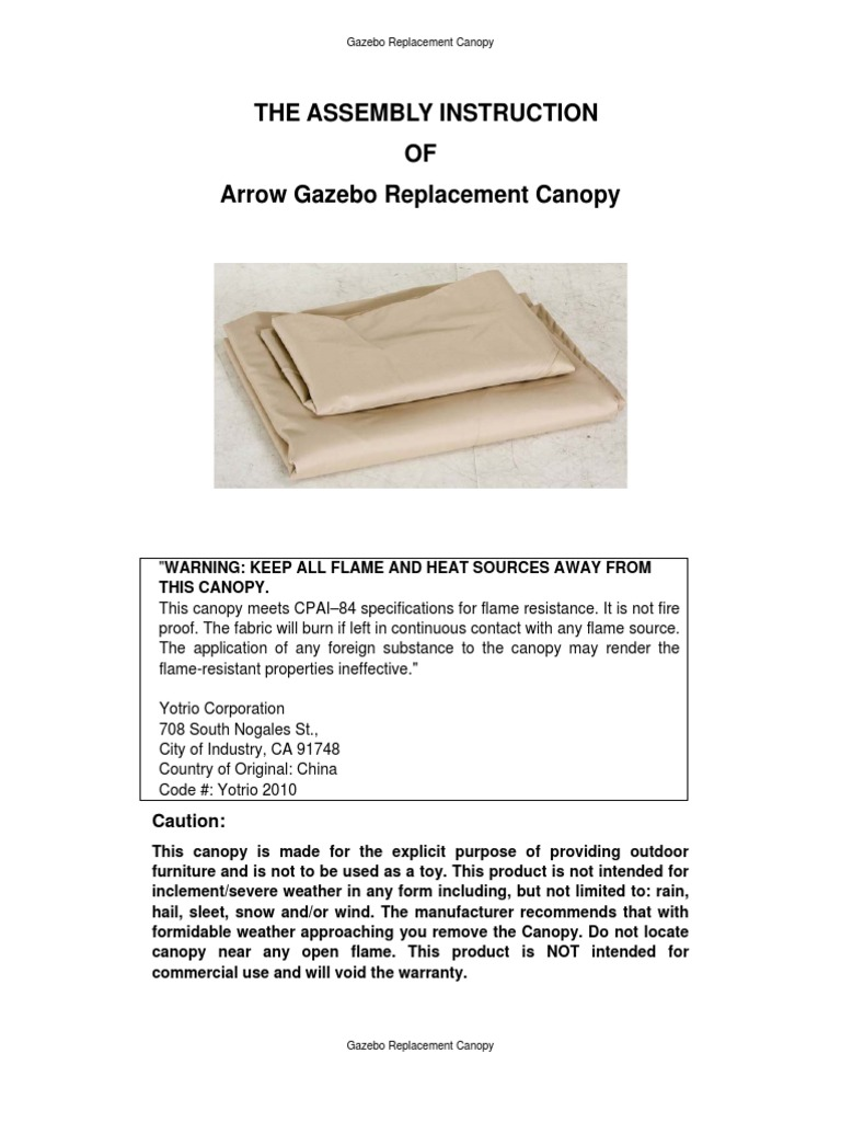 Arrow Gazebo Replacement Canopy English Instruction Manual