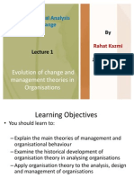 O a C, Evolution of Change and Management Theories in Organ is at Ions, Lecture 1