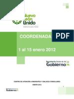 Coordenadas Primera Quincena Enero 2012