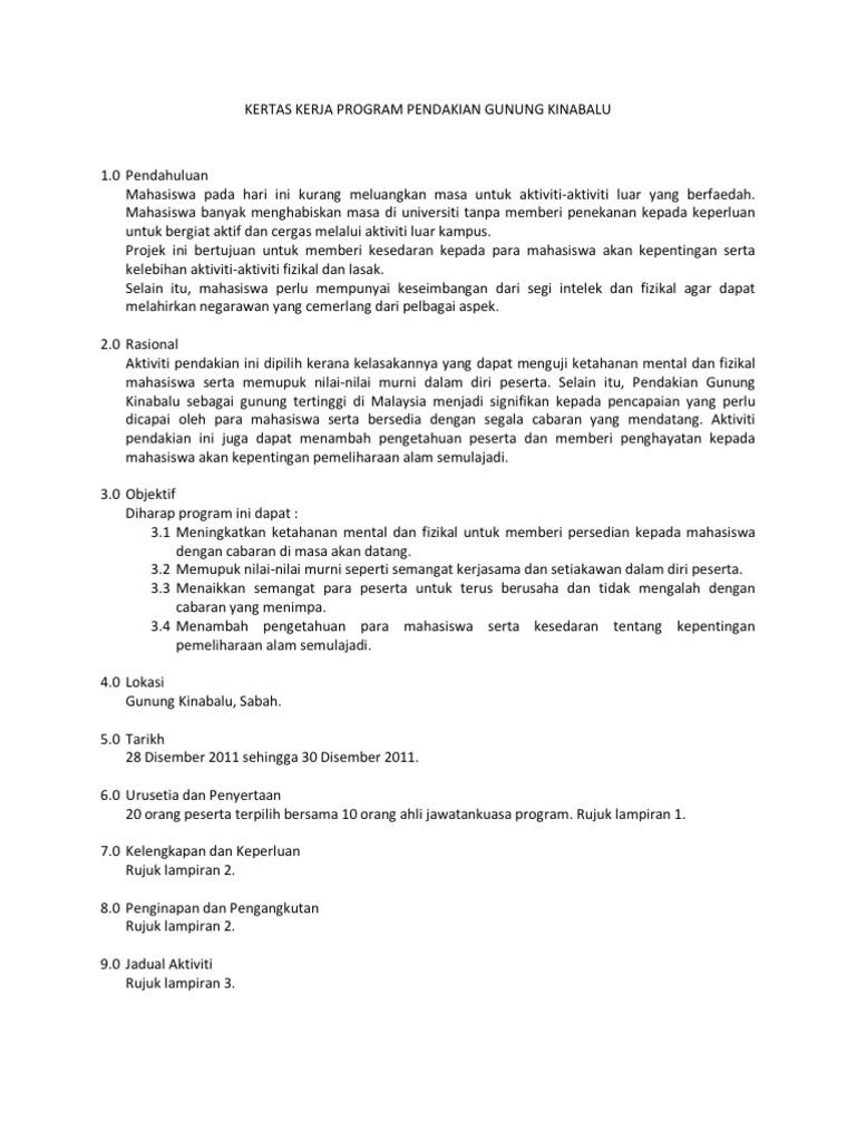 Kertas Kerja Program Pendakian Gunung Kinabalu