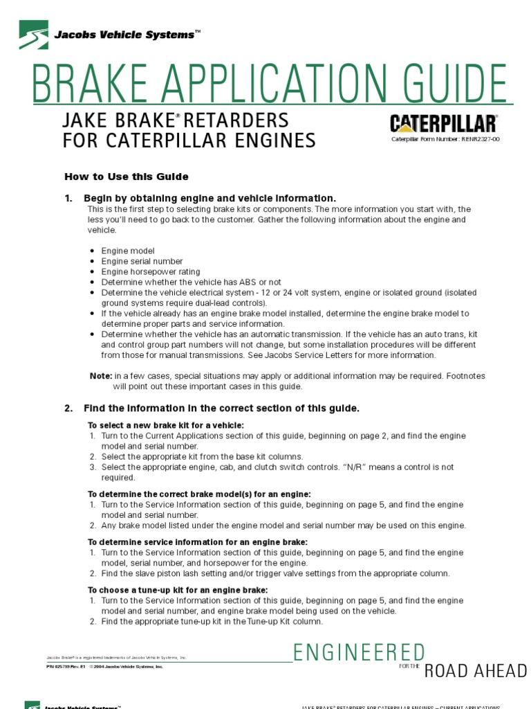 Jacobs Brake Application Guide Caterpillar