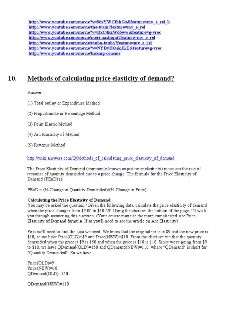 Calculating Price Elasticity Of Demand Price Elasticity Of