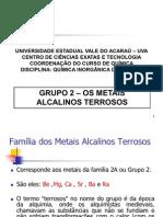 Grupo 2 - Os Metais Alcalinos Terrosos