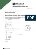 INMO-2012 Test Paper Solution