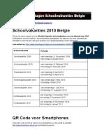 Schoolvakanties 2010 Belgie - Exacte datums op kalender