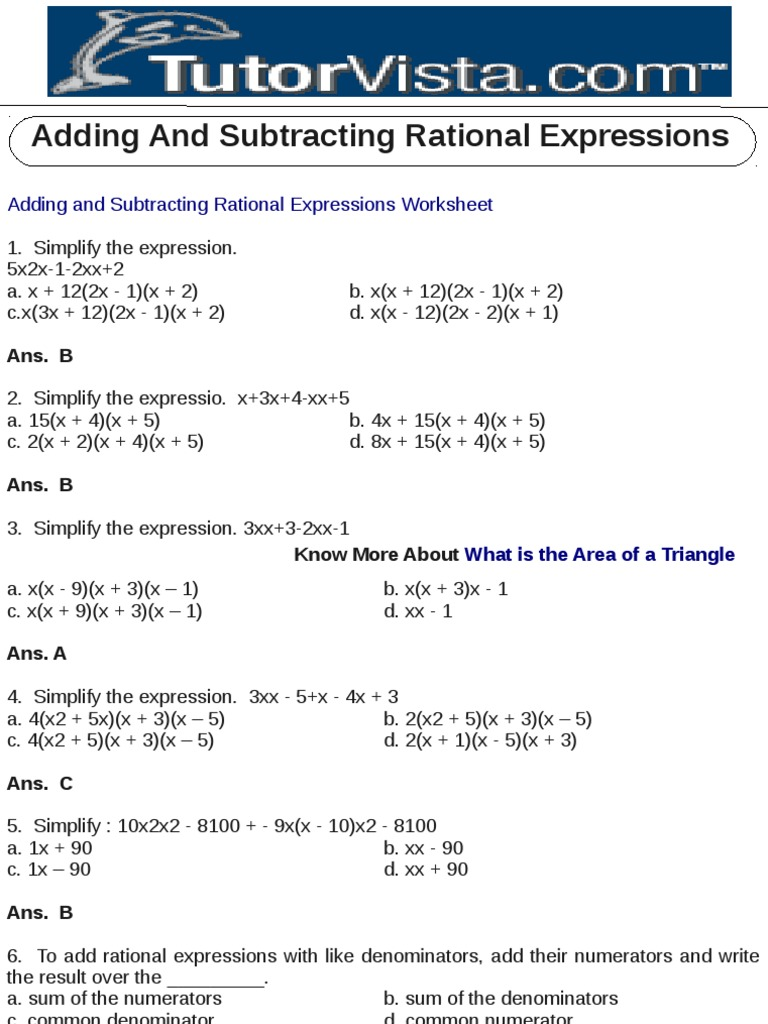adding and subtracting rational expressions fraction mathematics algebra - Adding And Subtracting Rational Expressions Worksheet