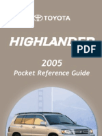 Toyota Highlander 2005 Pocket Manual