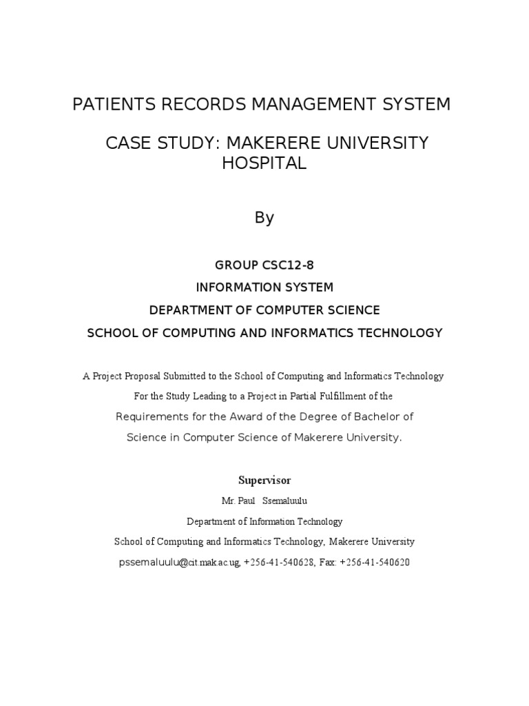 Patient Record Management System Proposal Corrected | Questionnaire