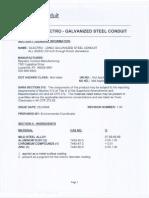 Electrogalvanizing Material Safety Data Sheet