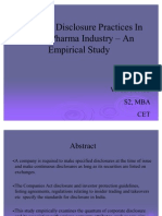 Corporate Disclosure Practices In Indian Pharma Industry – An Empirical Study