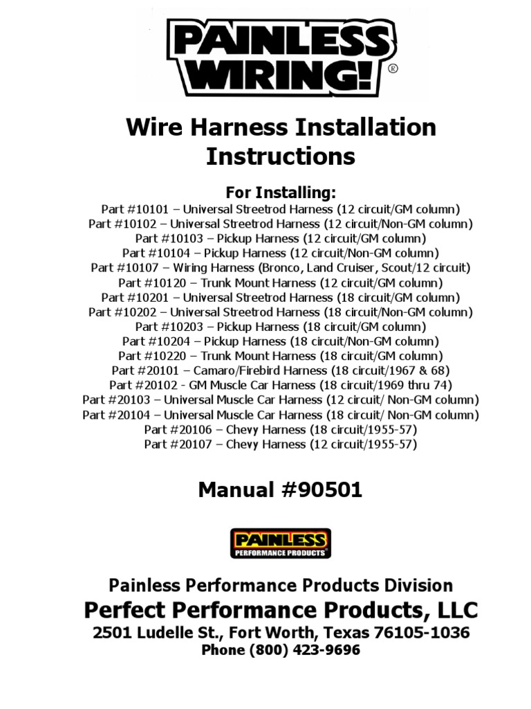 painless wiring harness install instructions ignition system painless wiring headlight switch wiring diagram at Wiring Harness Installation Instructions