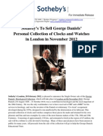 Sotheby's London to Sell the George Daniels Horological Collection