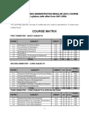 Course Matrix: Master Of Business Administration Regular