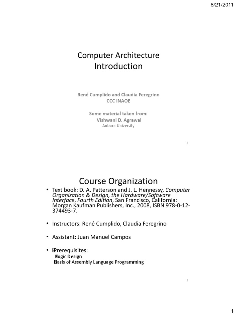 Computer Architecture Rene Cumplido And Claudia Feregrino Ccc Inaoe Some Material Taken From Vishwani D Agrawal Instruction Set Computer Program