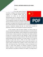EVOLUCIÓN EN EL SISTEMA AGRICOLA EN CHINA