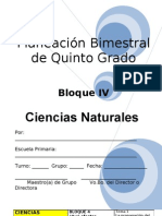 Plan - 5to Grado - Bloque IV - Ciencias Naturales