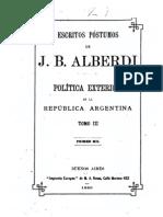 ALBERDI, J. B. - Escritos Póstumos [Tomo III] (Política Exterior de la República Argentina)