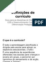 Definições de currículo
