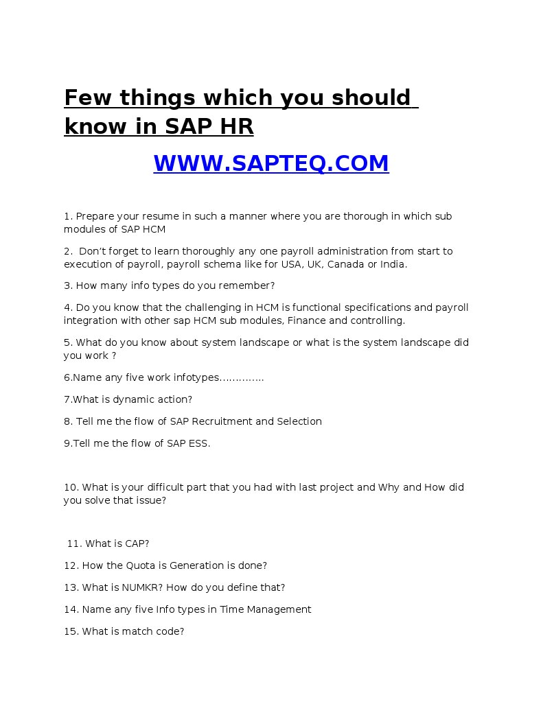 Sap Hr Resume and Interview Tips and Preparation 1