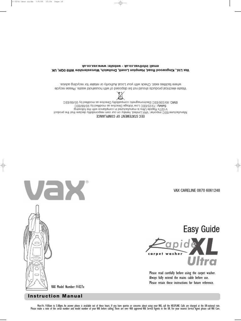 Vax Instructions | Vacuum Cleaner | Ac Power Plugs And Sockets