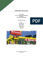 (Operations Management) - McDonald's Analysis