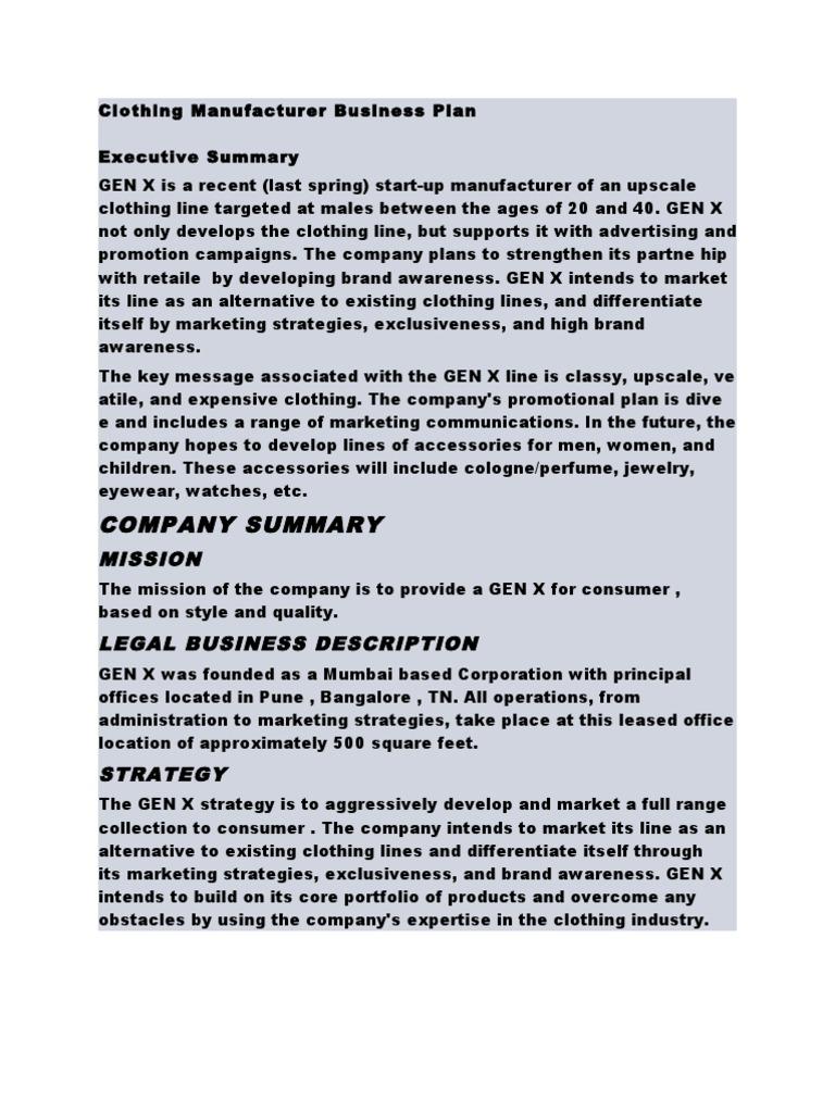 Clothing manufacturing business plan