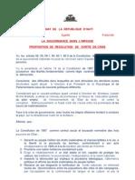 Le Senateur Wesner POLYCARPE (Nord) propose une résolution de sortie de crise de gouvernance fevrier 2012