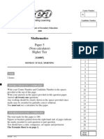 GCSE MATH Three Tier PP MayJune 2008 Higher Tier Paper 5 Non Calculator 4128 (1)