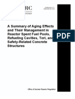 A Summary of Aging Effects  and Their Management in  Reactor Spent Fuel Pools,  Refueling Cavities, Tori, and  Safety-Related Concrete  Structures