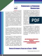 Comunicado Consejo Estudiantil Facultad de Salud -CEFAS UIS- Tema