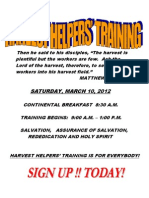Harvest Training Flyer