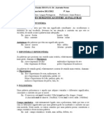 Ficha Informativa - Relações semânticas entre as palavras