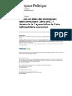 Temoin de La Fragmentation de l Aire Metropolitaine Azureenne