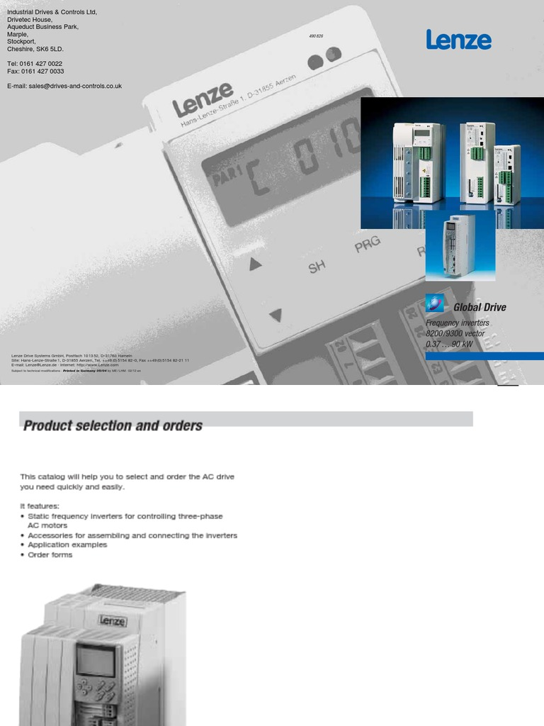Frequency Inverters 8200 9300-Vector Catalog Lenze En | Mains ...