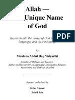 All Ah Unique Name God
