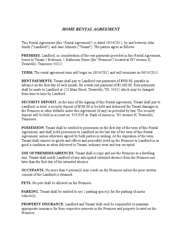 Home rental agreement lease leasehold estate platinumwayz