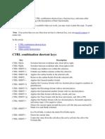 CTRL Combination Shortcut Keys