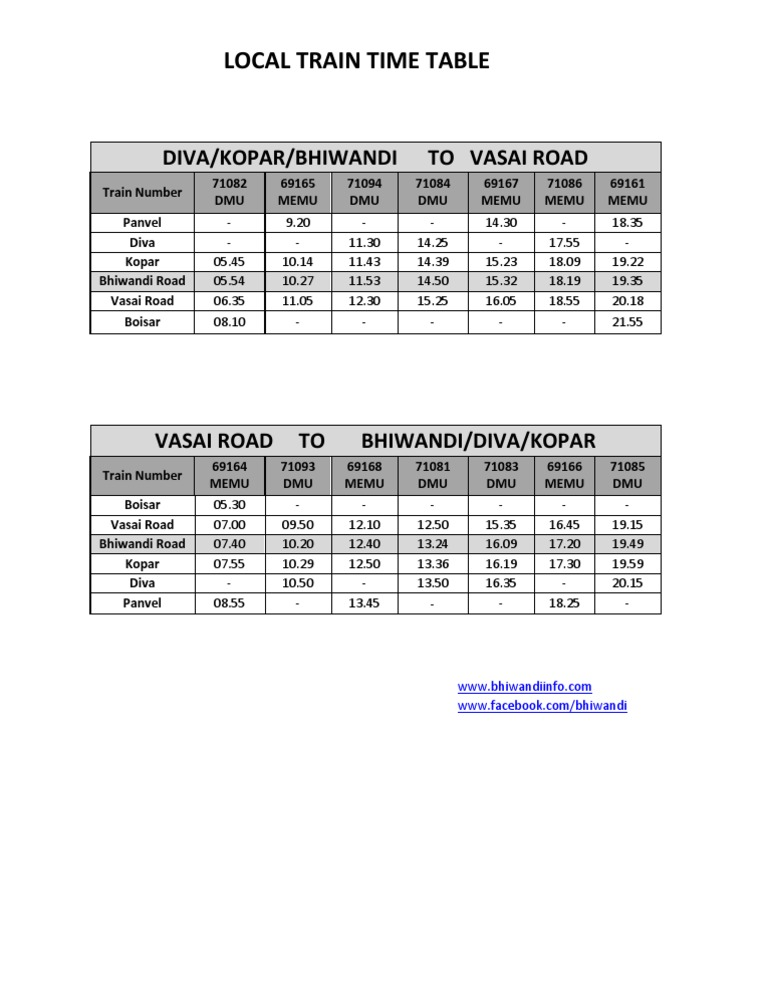 Mumbai Local Train Time Table 2012 Pdf