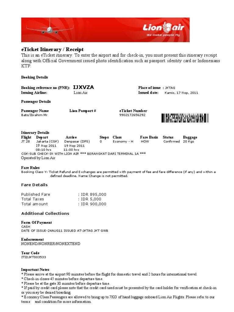 E Tiket Lion Air