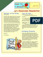 Madorsky Leslie 406 Cohort1 Classroom Management Newsletter and Rationale