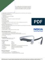Nokia Bluetooth Stereo Headset Bh 505 Datasheet